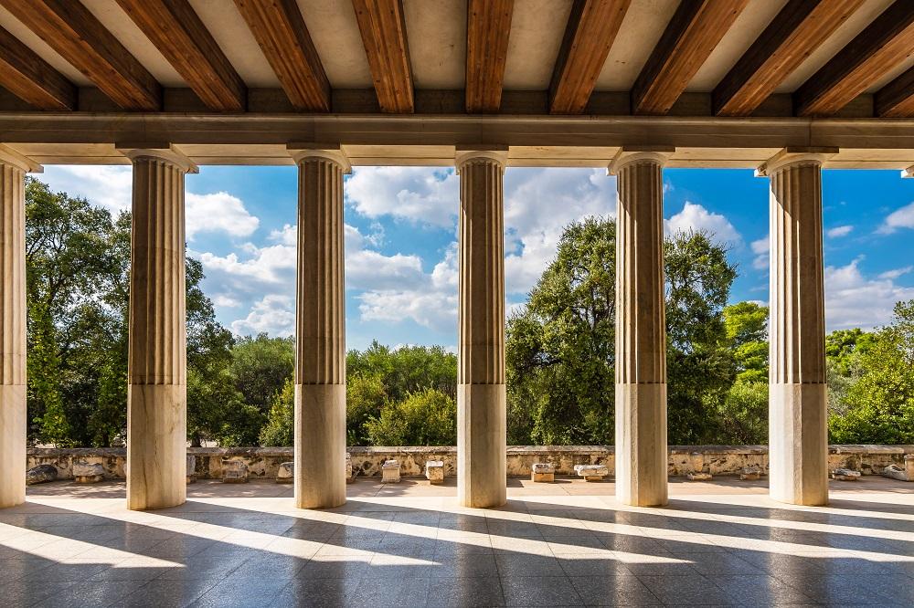 Attalos Stoa In Ancient Agora Of Athens In Greece