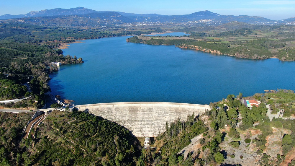 Aerial Drone Photo Of Famous Lake And Dam Of Marathon