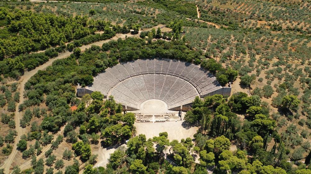 Aerial Drone Photo Of Massive Ancient Theatre Of Epidaurus