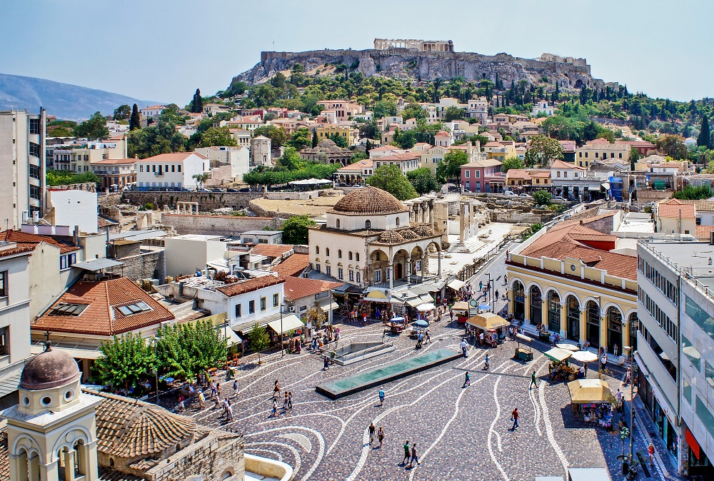 Aerial Panoramic View Of Monastiraki Square And The Acropolis