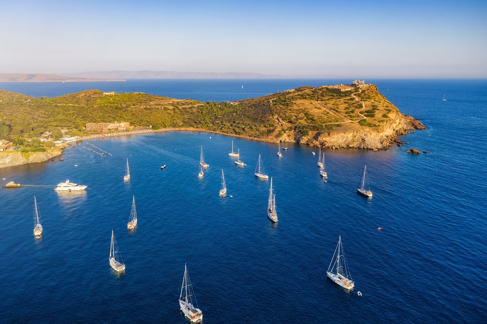 Aerial View To The Bay Of Sounion With Many Sailboats