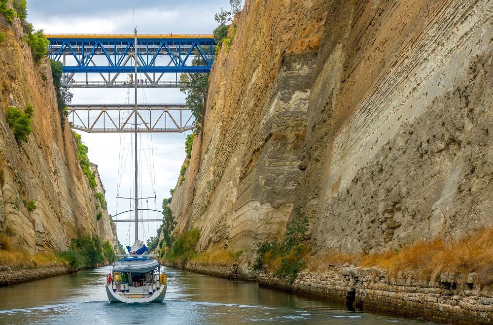 Greece Corinth Canal In Cloudy Weather Several Bridges Sailing Yacht.