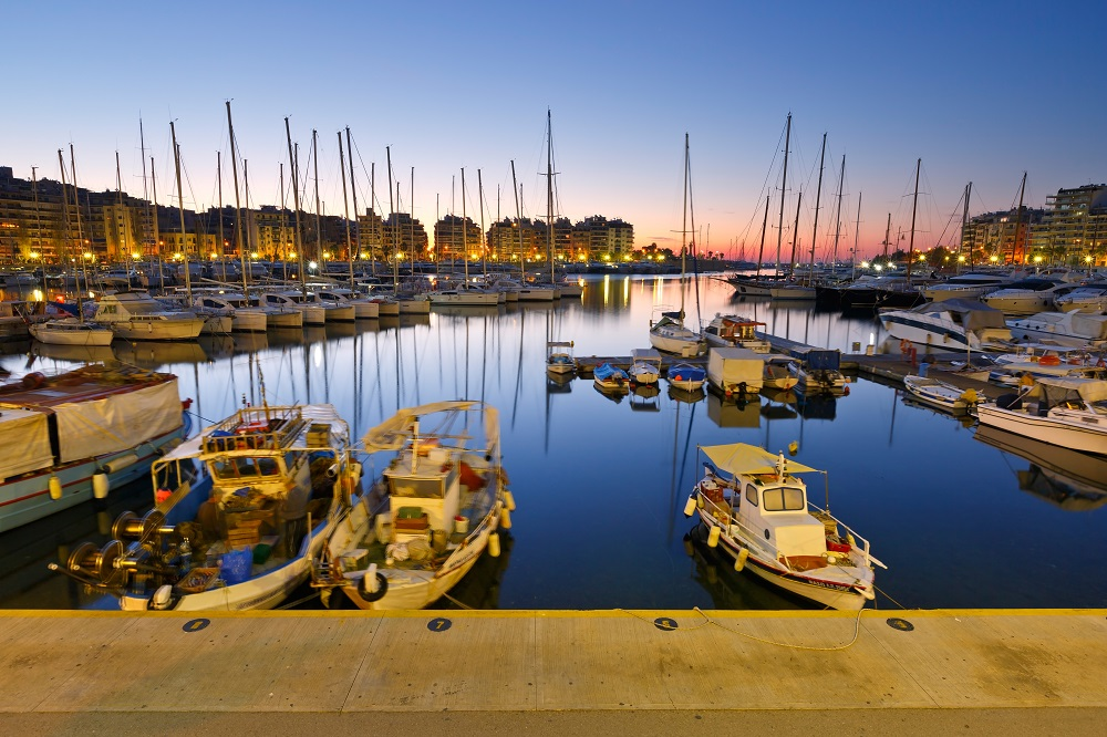 Fishing Boats And Yachts In Zea Marina In Athens Greece