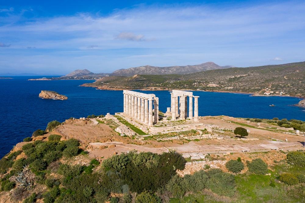 Greece Cape Sounio Poseidon Temple Aerial Drone View
