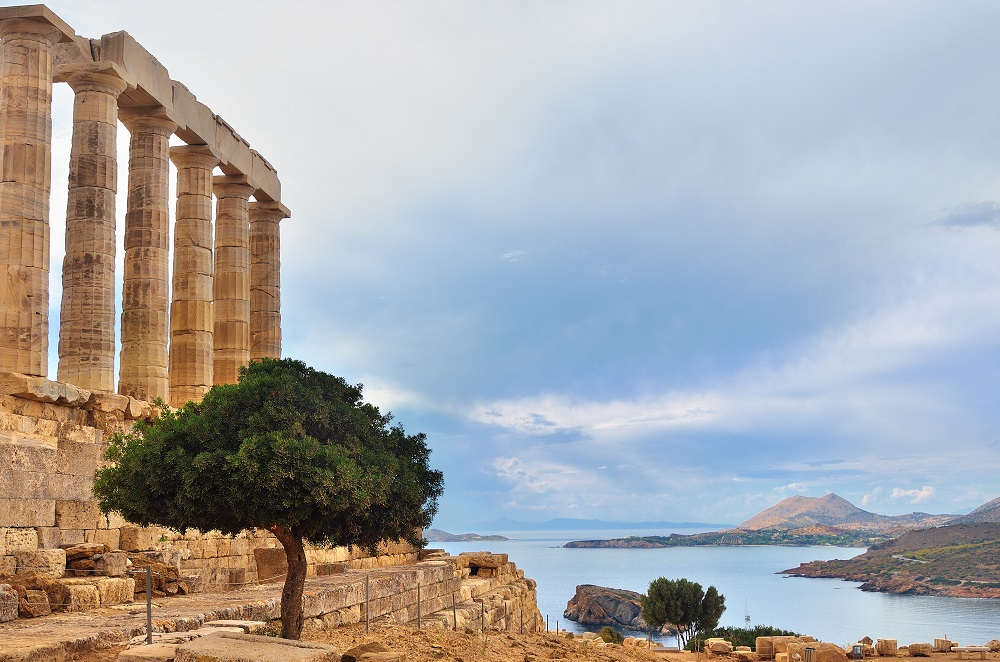 Greece Cape Sounion - Ruins Of An Ancient Greek Temple