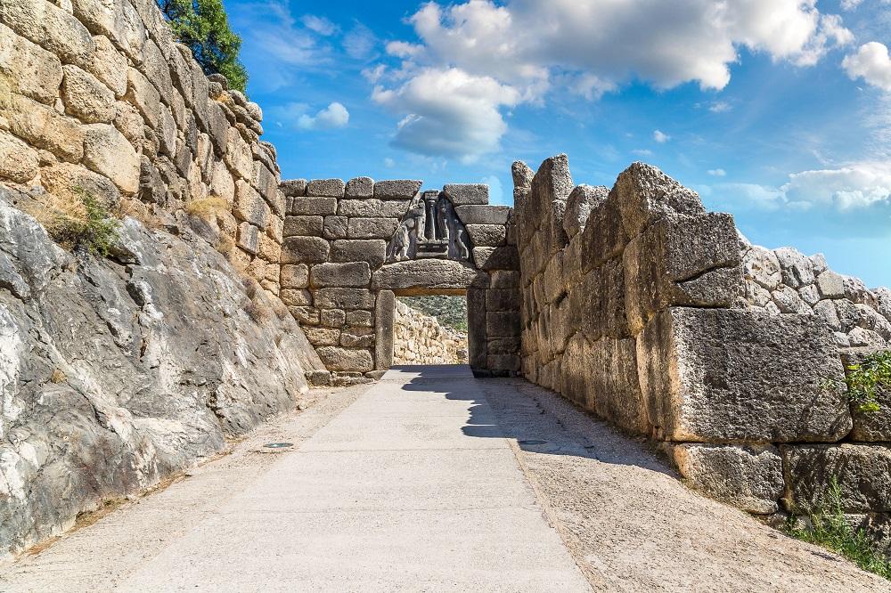 Lion Gate In Mycenae Greece In A Summer Day