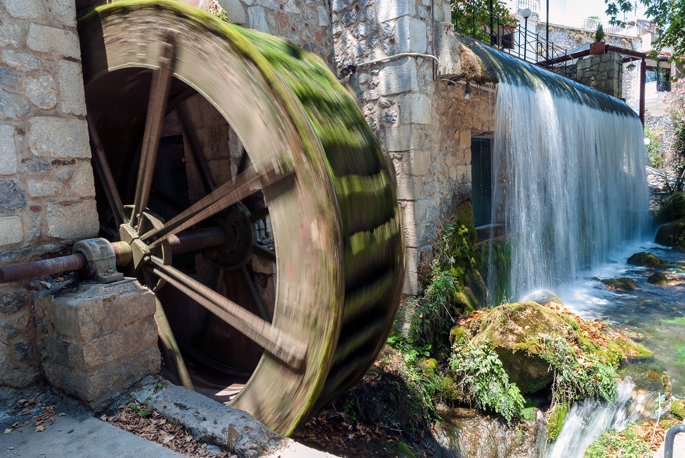 Old Water Mill Near Artificial Waterfall