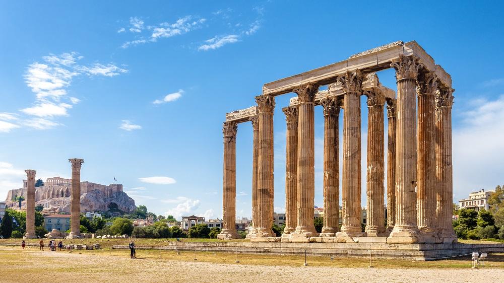 Panorama Of Temple Of Olympian Zeus Athens Greece