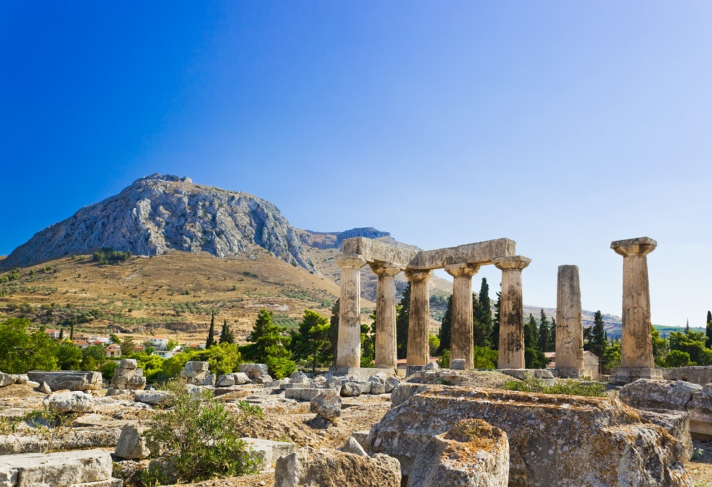 Ruins Of Temple In Corinth Greece - Archaeology Background