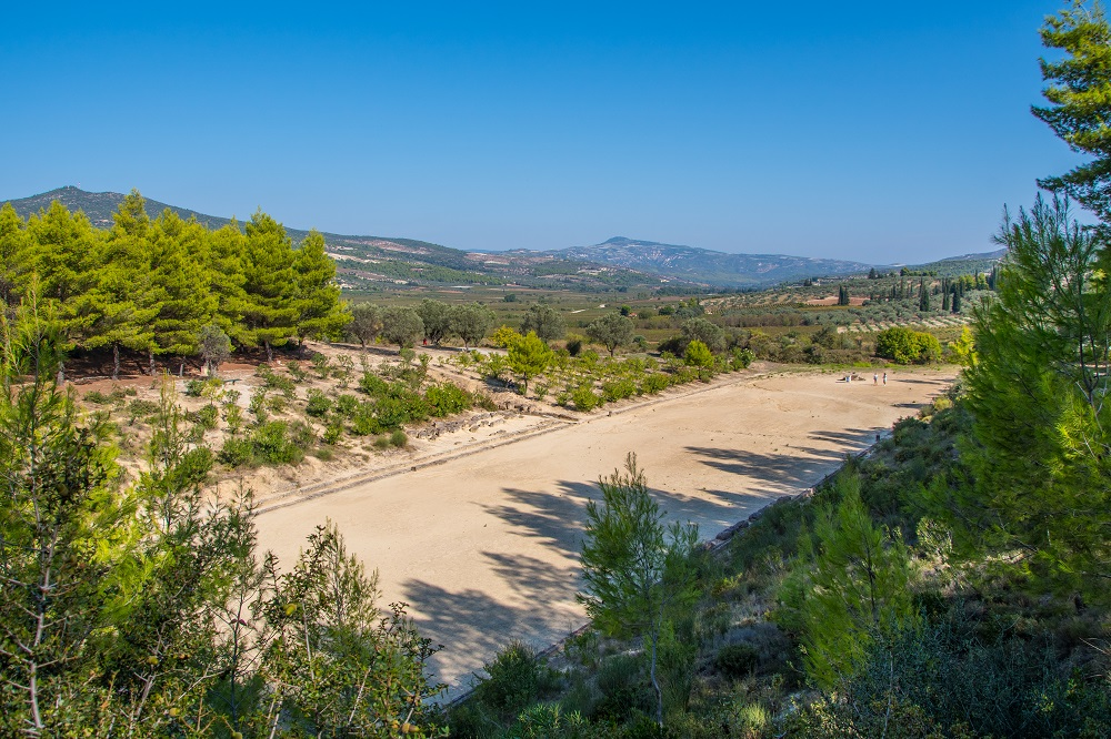 Stadium Of The Panhellenic Games At Archaeological Site Of Nemea