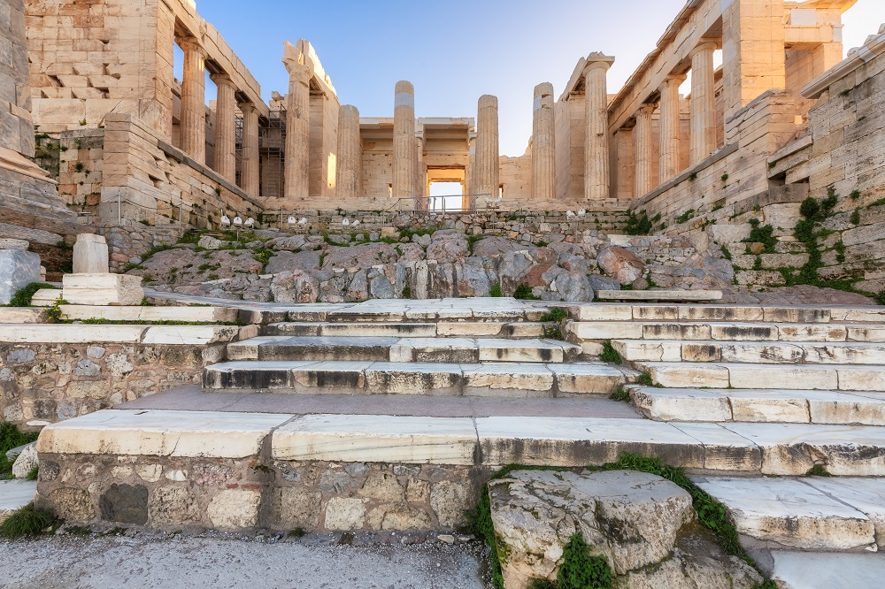 Stairs In Front Of The Athenian Acropolis Propylaea Serves As