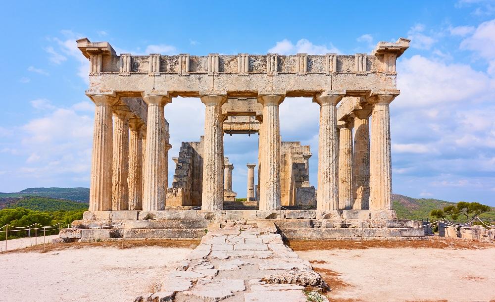 Temple Of Aphaea In Aegina Island Greece