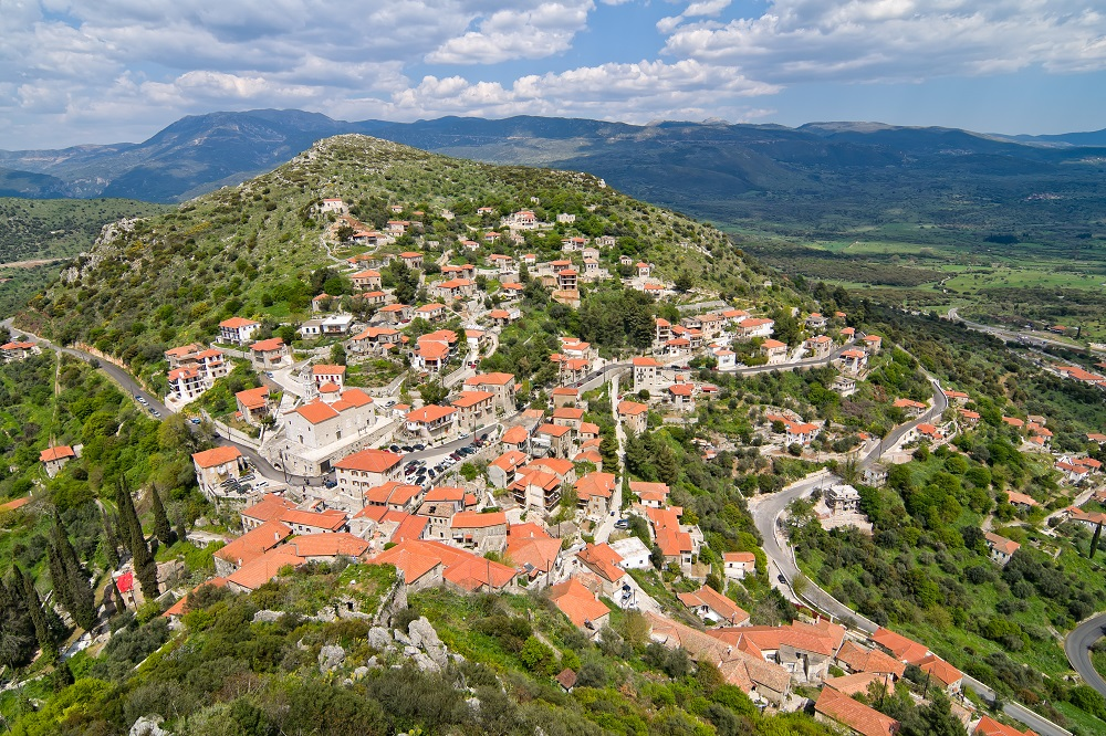 The Historic Village Of Karytaina In Greece Aerial View
