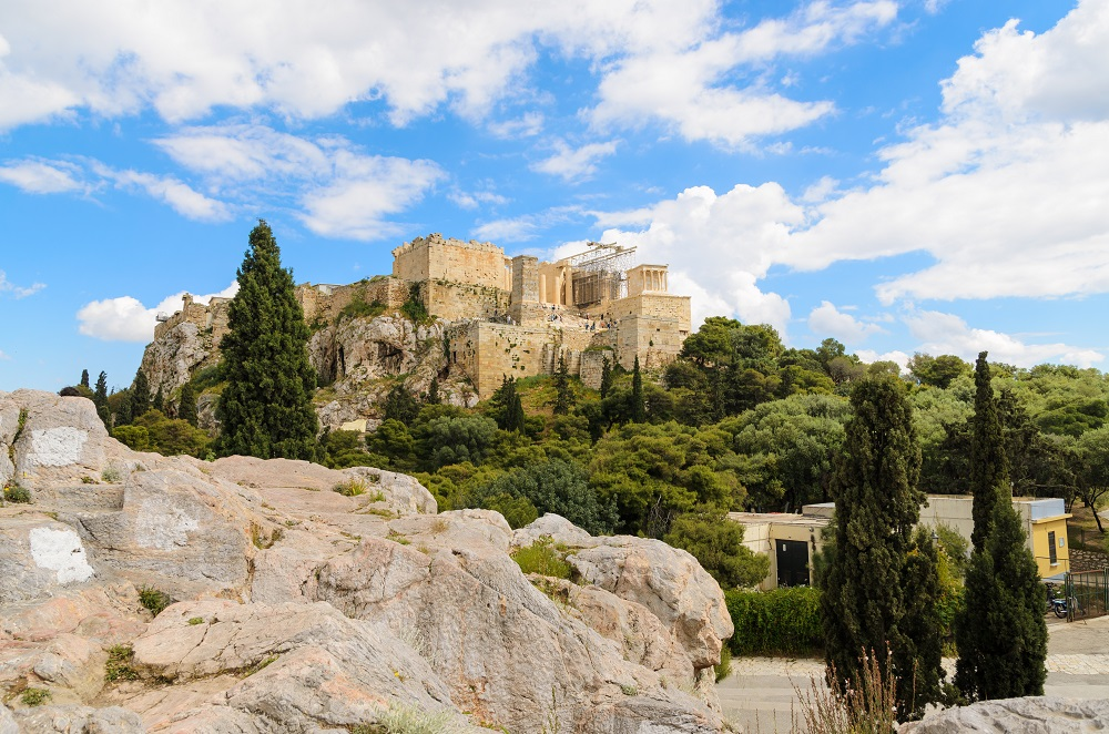View Of Acropolis From Areopagus Hill Athens Greece